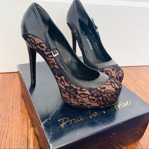 Pour la Victoire  | Black Lace Overlay Heels
